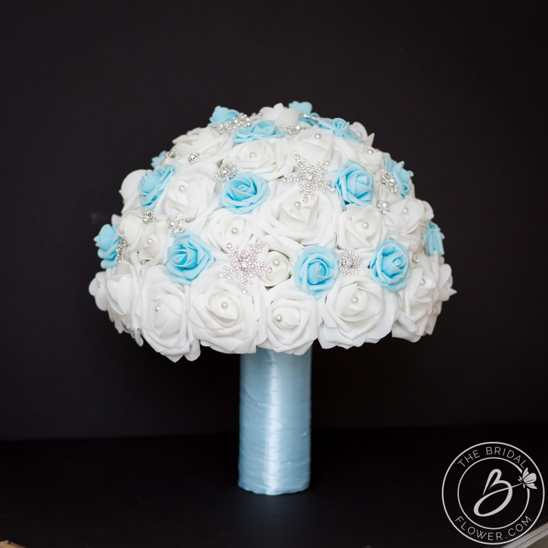 Light Blue Winter Wedding Bouquet With Sparkly Snowflakes