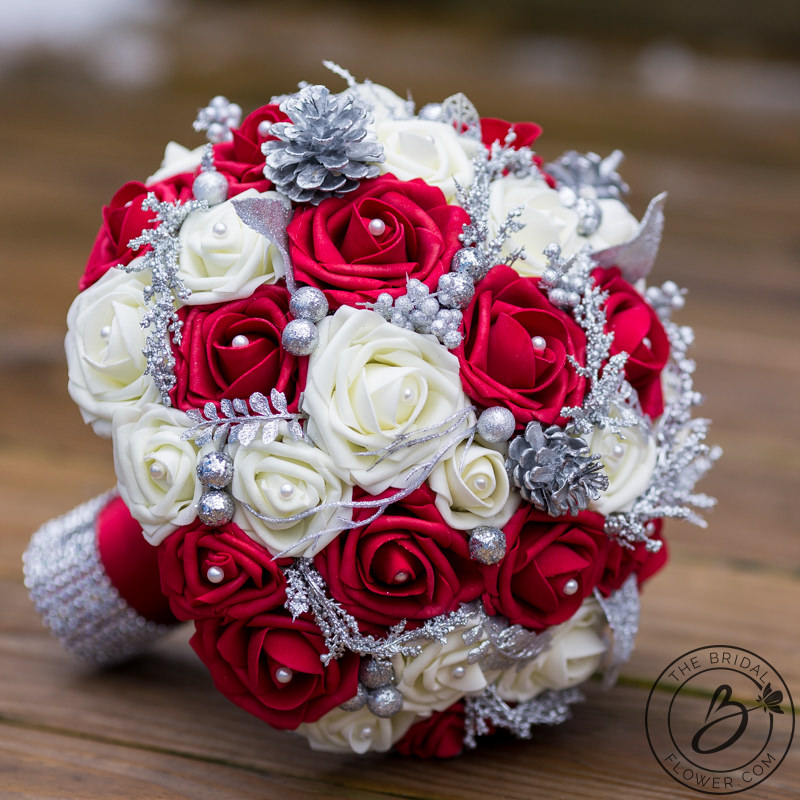 Red And Ivory Winter Wedding Bouquet Holiday Themed The
