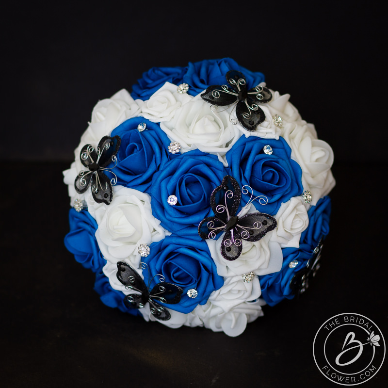 Royal Blue And Black Butterfly Alternative Wedding Bouquet