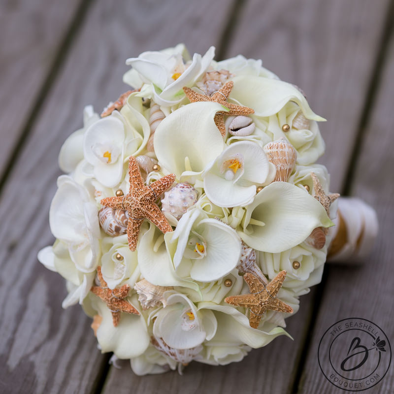 Ivory And Gold Beach Bouquet With Starfish And Orchids