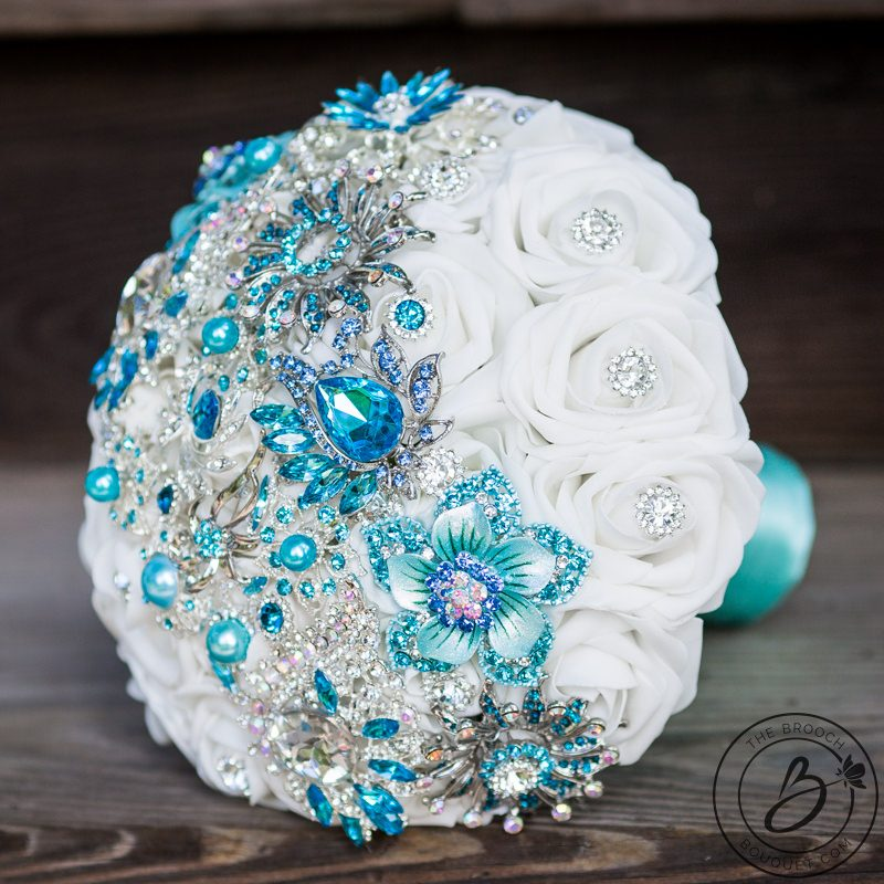 Brooch bouquet with tiffany aqua blue and turquoise strip     The     Brooch bouquet with tiffany aqua blue and turquoise strip