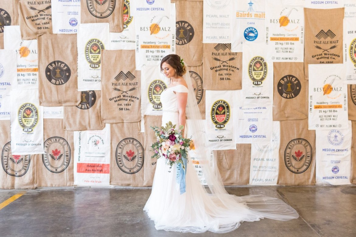 Bridal photo at Monday Night Brewery in Atlanta