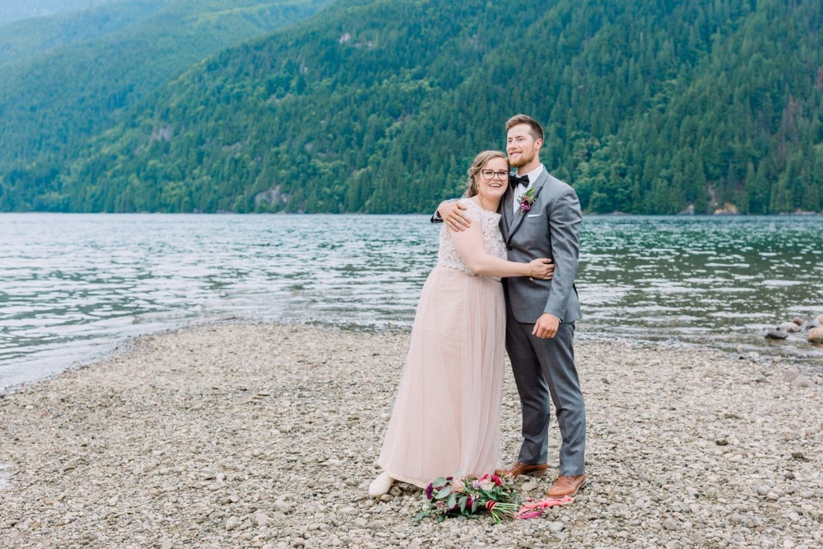 bride and groom wedding photos at golden ears provincial park