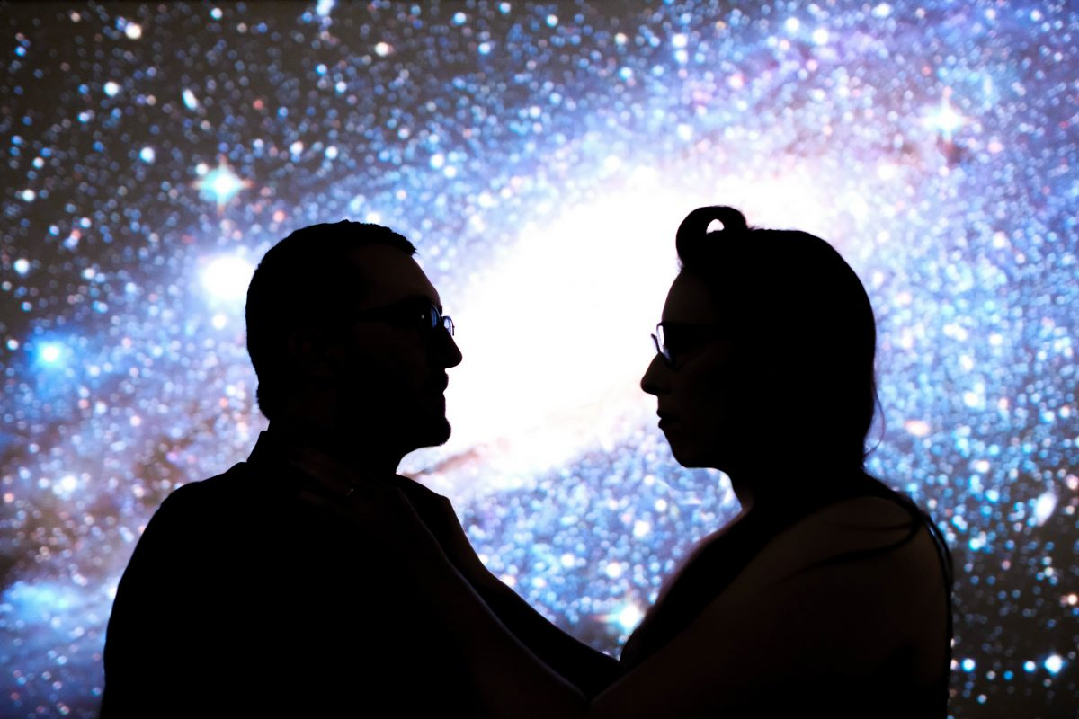 Chris & Mekensey's Geeky Movie Theater Engagement Photo Session - SB Vision Weddings - www.thebridechilla.com