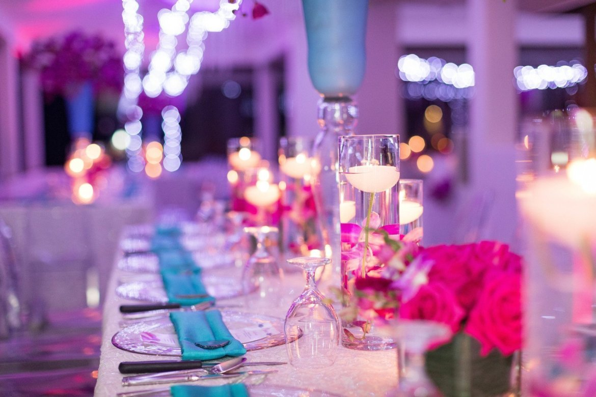 colorful wedding reception details in costa rica
