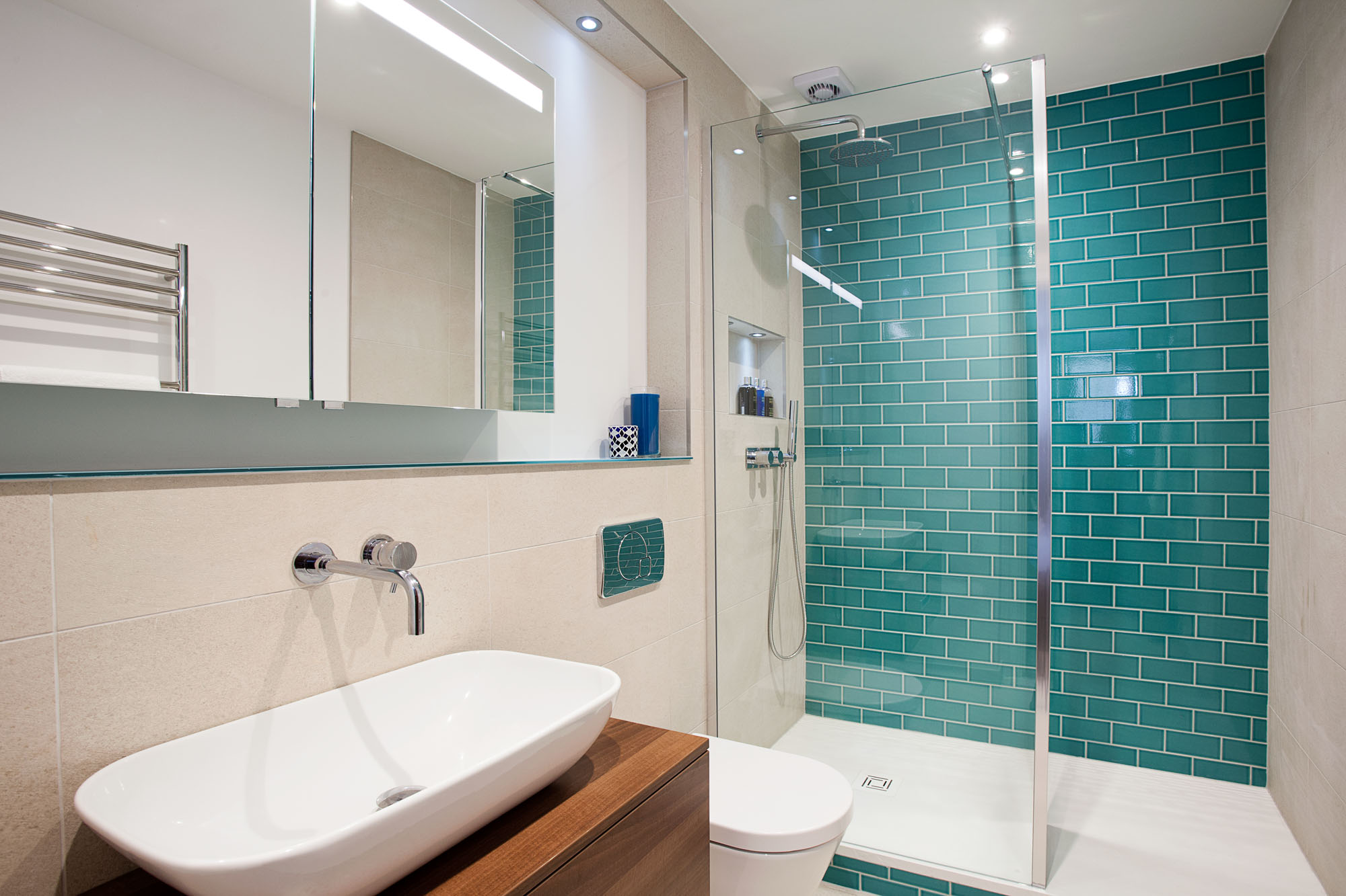 large shower featuring monceau teal