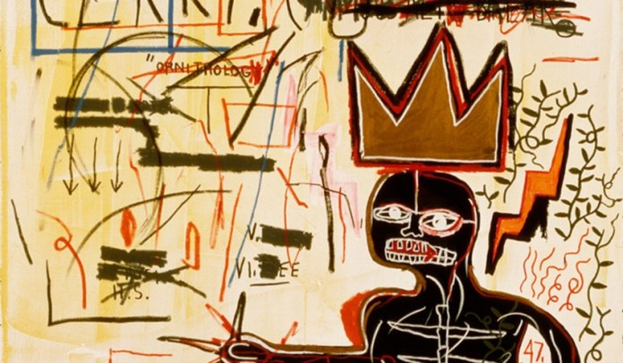 Detail of Jean-Michel Basquiat's With Strings Two