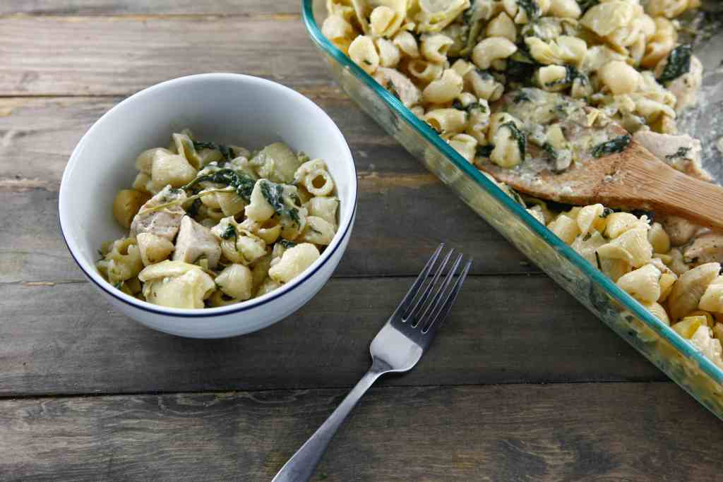 Spinach Artichoke Chicken Pasta Bake - The Brooklyn Cook