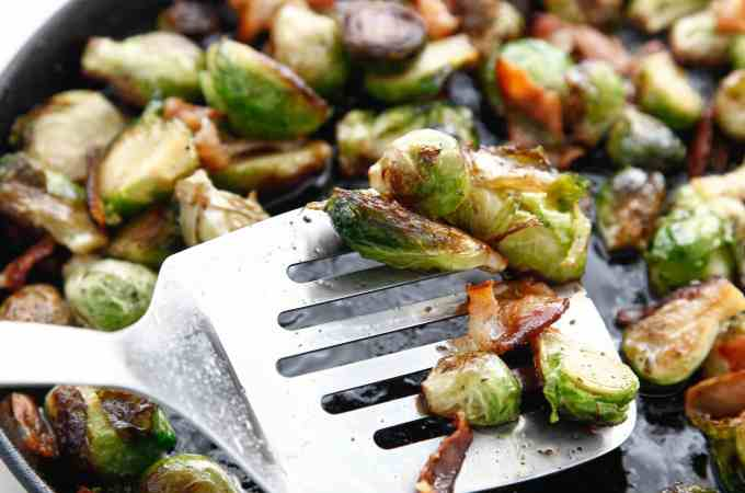 Pan Roasted Bacon Brussels Sprouts with Maple Vinaigrette