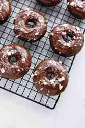 Peppermint Fudge Doughnuts