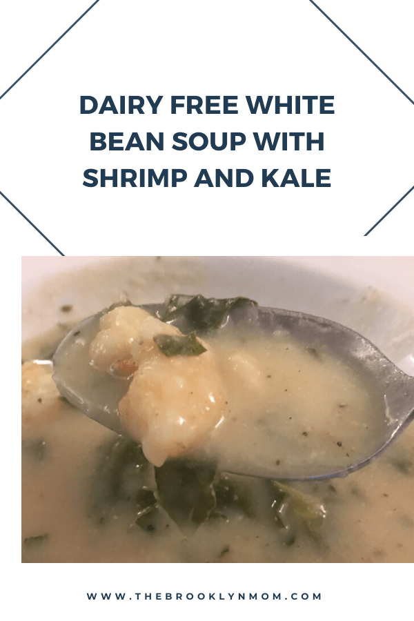 Dairy Free White Bean Soup with Shrimp and Kale