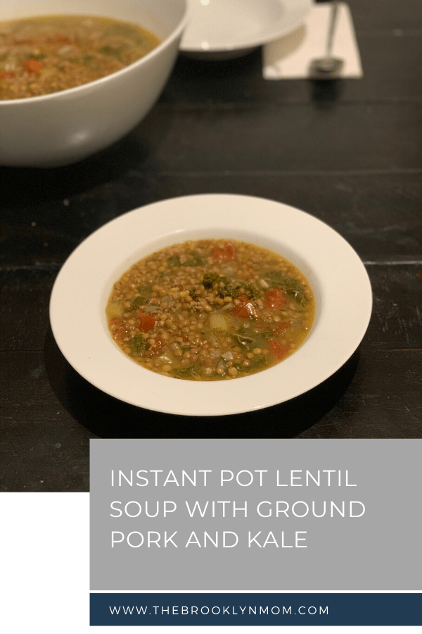 Lentil Soup with Ground Pork and Kale