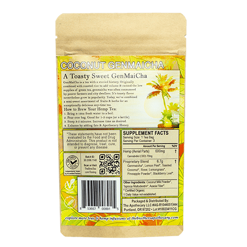 Coconut Genmaicha CBD Tea Back Side