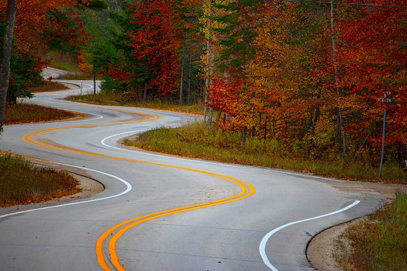 Curvy roads cause motion sickness for most people.