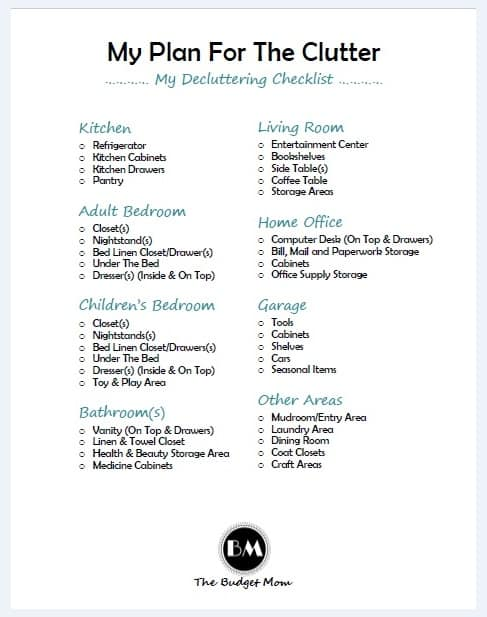 Declutter Check List This One