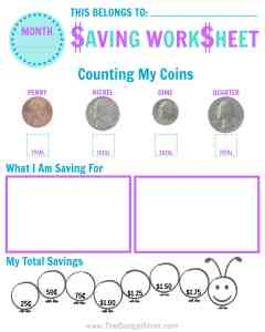 Fun FREE Saving Worksheet! These are great tips to teach your young child about money. I love the idea of using spare change for allowances, money identification, and saving habits. It's important to start teaching good money habits early and this post has some fun ways to do it! Check it out!