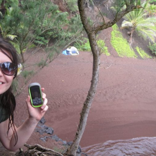 Geocaching took us to a secluded red sand beach in Maui