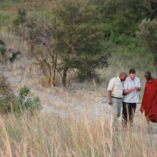 One of our favorite geocaching moments...Harry geocaching with a Maasai warrior in Tanzania