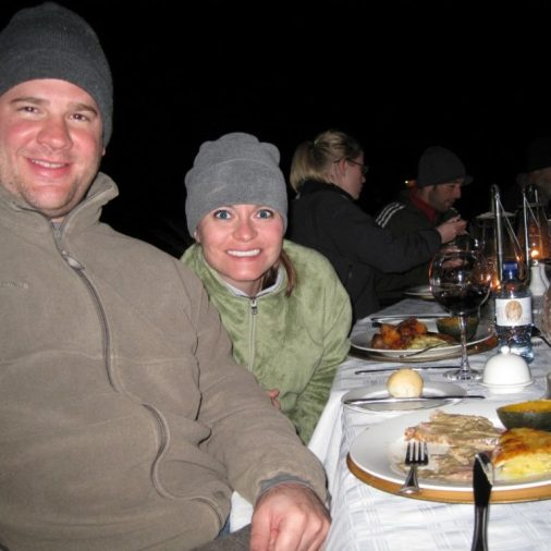 During dinner we sat in circle around a large fire. The food was delicious!