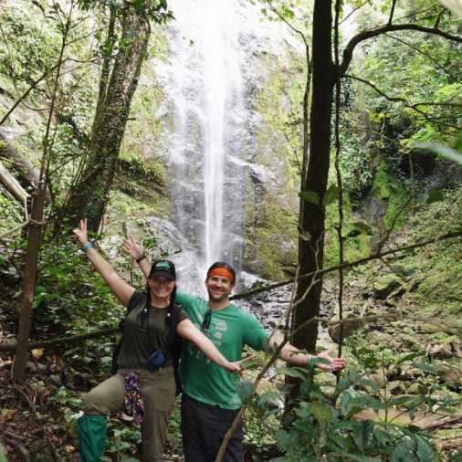 exploring borneo island waterfall