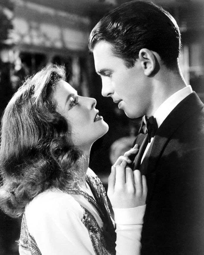 Katharine Hepburn and James Stewart as Tracy Lord and Macaulay Connor in The Philadelphia Story|