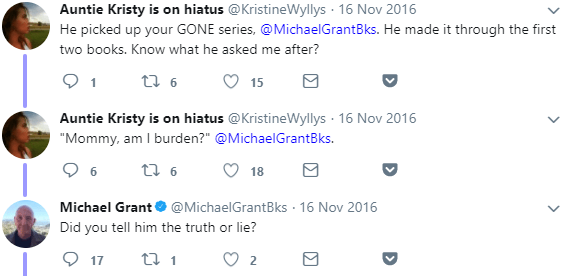 Michael Grant tweet screenshots