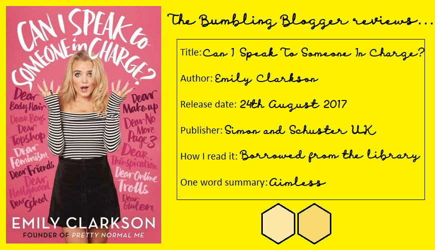 Review: Can I Speak To Someone In Charge? by Emily Clarkson
