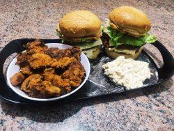 fried peri-peri chicken burger