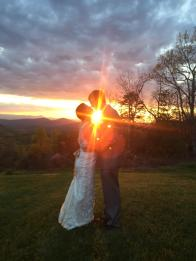 Beautiful sunset at mountain wedding - The Cabin Ridge - Asheville area wedding venue