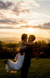 Newly weds at Sunset - outdoor wedding