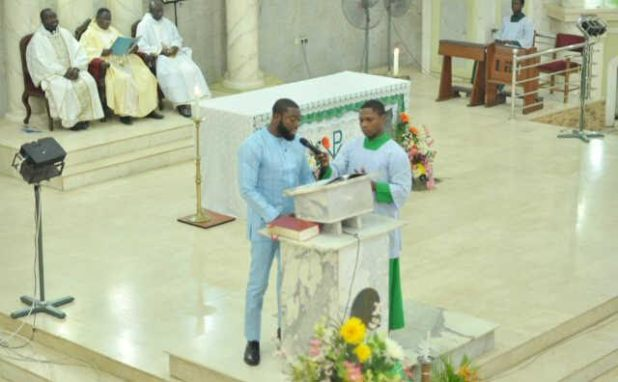 Keshi's first son takes a Bible reading in church