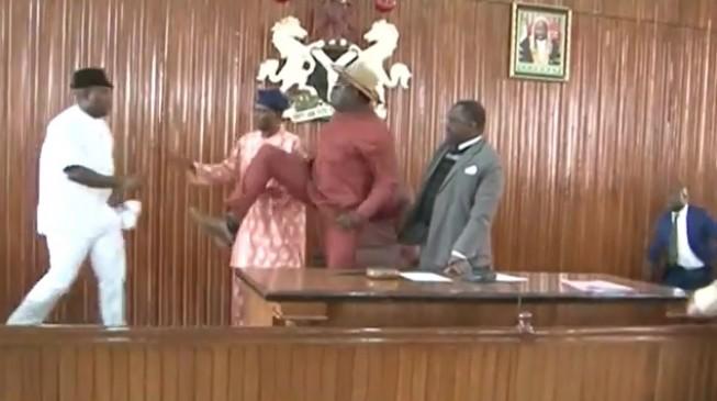TRENDING VIDEO: Edo lawmakers exchange blows over speaker's removal