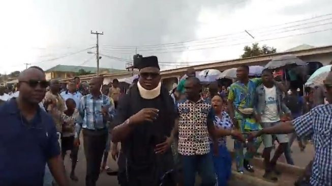 Image result for (vIDEO) Fayose makes first public appearance since Ekiti election