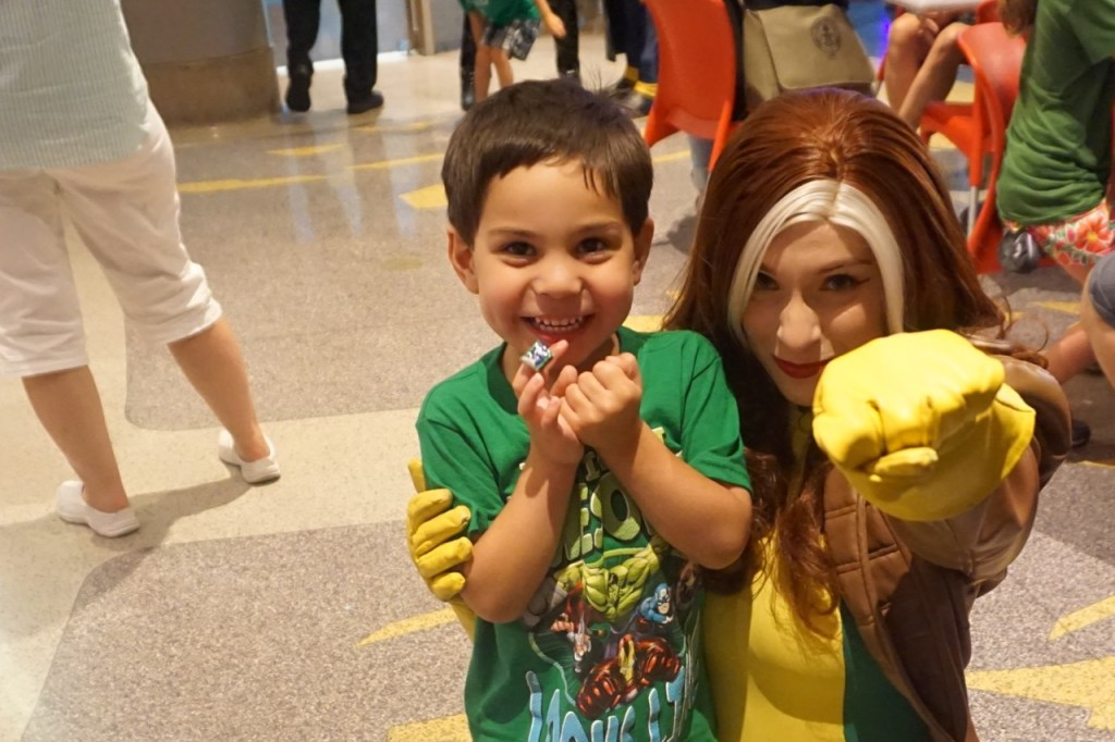 Rogue, from X-Men, makes an appearance to my son's delight. He doesn't know who Rogue is, but it doesn't matter, lol.