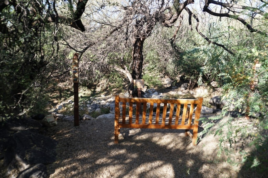 There are benches throughout the nature walk.