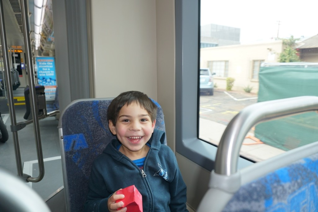 My son was very excited to ride on the streetcar.