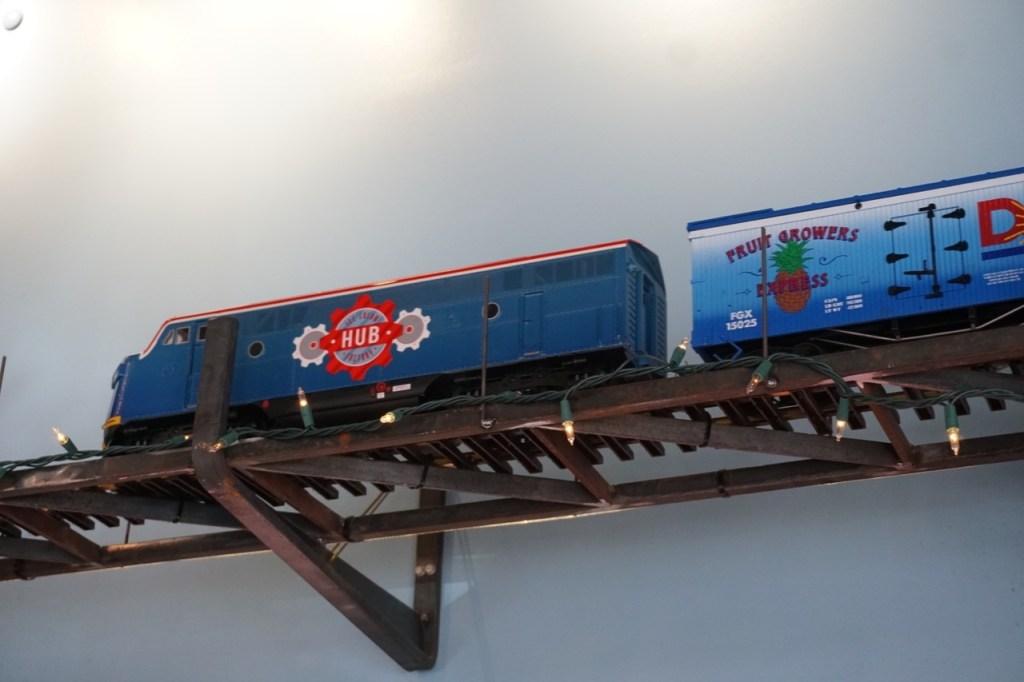 The miniature train at the HUB Ice Cream Factory.