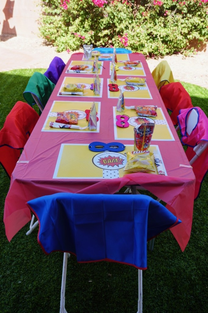 I had fun with the decorations at my son's last birthday party. I saw a version of this on Pinterest, but added placemats I purchased through Etsy.