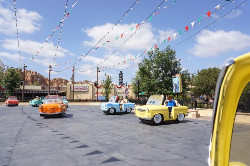 Cars Land, and Luigi's Rollickin Roadsters, is a fun ride for toddlers at Disneyland.