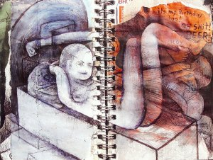 selection from sketchbook pages, mixed media by Andrew Abbott