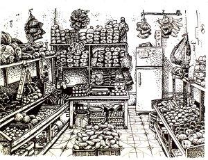 El Tabasqueno, Bacalar, pen & ink by Brett Newburn