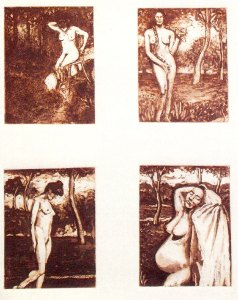 4 Stages of Women, etching by Robert Branaman