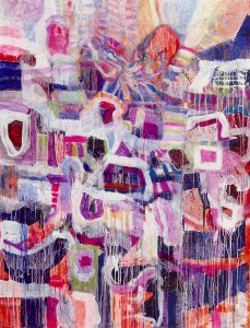 Before the Purple Mist, mixed media & oil on board by Robert Ronnie Branaman