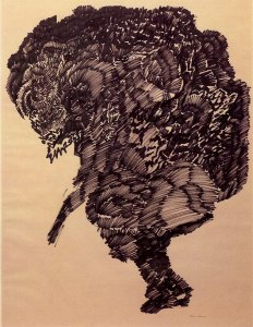 """Hunchback, 1964, ink on paper, 23-3/4""""x17-3/4"""" by Bruce Conner ©2012 Conner Family Trust, San Francisco/Artists Rights Society (ARS), New York"""