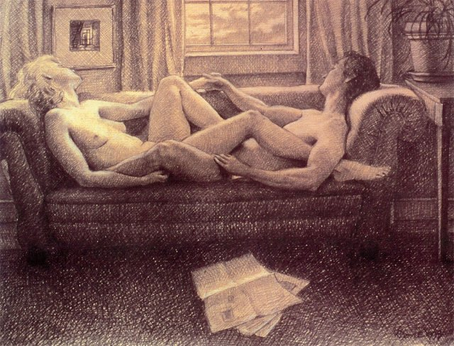 Sunday Afternoon, graphite on paper by Katherine Doyle