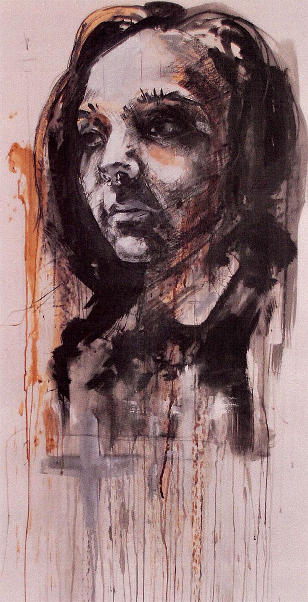 "Resin, graphite, charcoal, ink, screen printing ink, 25""x53"" by Matt Grubb"