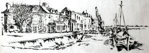 Quay Cassard Noirmoutier, pencil, brush, and ink by Michael Johnston