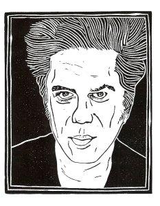 Jim Jarmusch, woodcut, by Loren Kantor