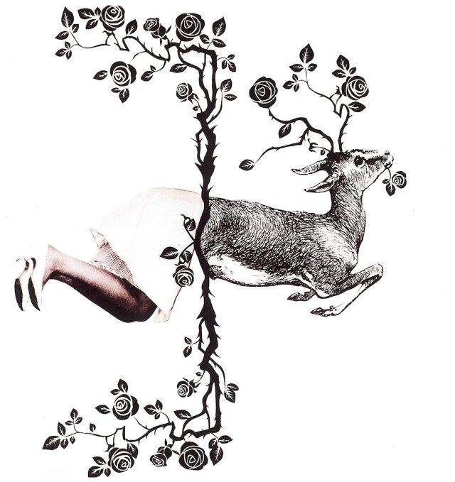 "Oh Deer, Dear, mixed media 15""x15"" companion piece to Mimi White tanka w/line ""I had not seen"" by Kate Knox"