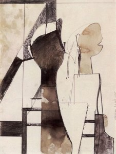 "Composition w/Portrait Heads 1975 Berkeley CA, 12""x9"" ink etc. on paper, collection George Marshall Store Gallery, York, ME by George Lloyd"
